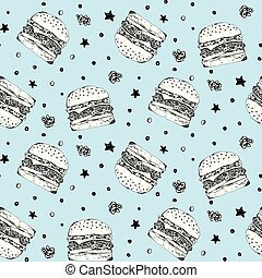 Cute pattern with white burgers on blue background
