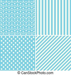 Cute patterns. Collection of backgrounds in blue colors.