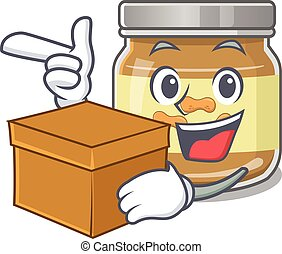 Cute peanut butter cartoon character having a box