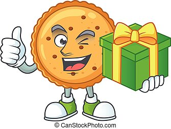 Cute peanut butter cookies character holding a gift box