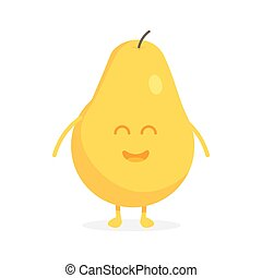 Cute pear fruit characters with faces and hands vector illustration