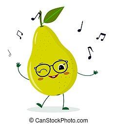 Cartoon happy dancing pear