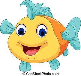 cute, peixe, caricatura, cima