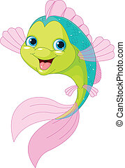 cute, peixe, caricatura