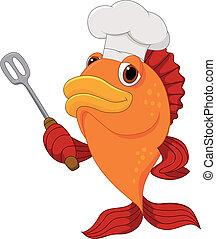 cute, peixe, cozinheiro, segurando, caricatura, discussão