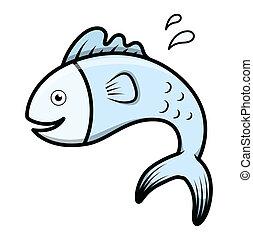 cute, peixe, vetorial, caricatura
