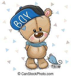 cute, pelúcia, boné, urso, fundo, branca, caricatura