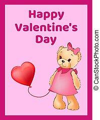 cute, pelúcia, cartaz, valentines, bandeira, dia, feliz