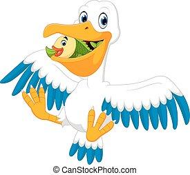 Cute pelican cartoon - illustration of Cute pelican cartoon