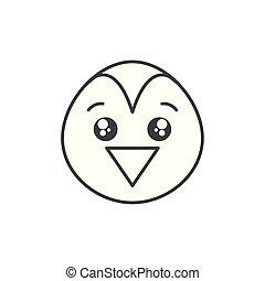 cute penguin bird animal line style icon