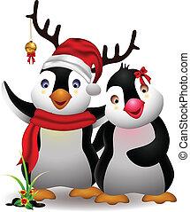 cute penguin cartoon couple - vector illustration of harmony...