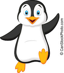 Cute penguin cartoon waving - Vector illustration of Cute...