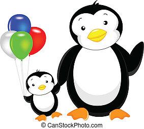 cute penguin cartoon with balloon - cute penguin cartoon...