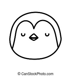 cute penguin face cartoon character on white background thick line