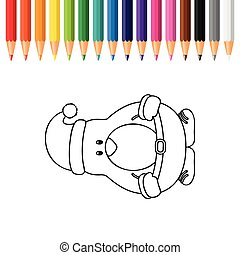 cute penguin for coloring book with pencils