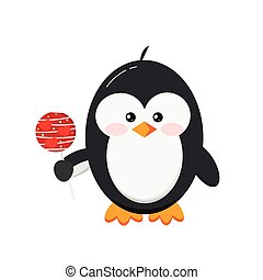 Cute penguin holding lollipop candy isolated on white background.