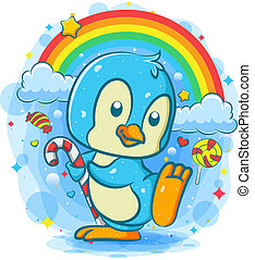 Cute penguin holds candy stick under the rainbow