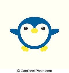 Cute penguin icon in flat style. Cold winter symbol. Antarctic bird, animal illustration