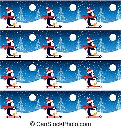 Cute penguin in Christmas and New Year winter seamless pattern.