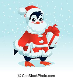 Cute Penguin in costume of Santa Claus with Christmas gift.