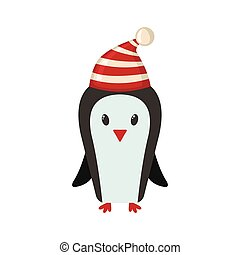 Cute penguin in flat style.