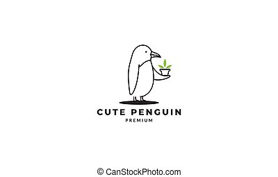 cute penguin line give gift logo design