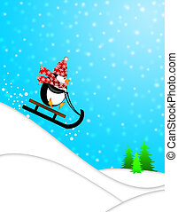 Cute Penguin with Christmas Snowflakes Scarf Riding on Sled Downhill Illustration