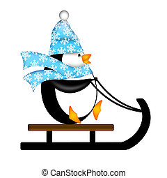 Cute Penguin with Christmas Snowflakes Scarf Riding on Sled Illustration Isolated on White Background