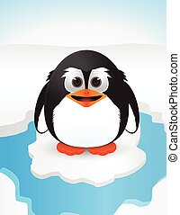 cute penguin on snow