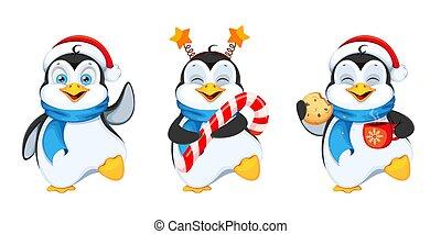 Funny penguin cartoon character