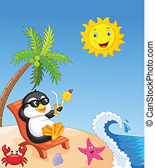Cute penguin sitting on beach chair - vector illustration of...