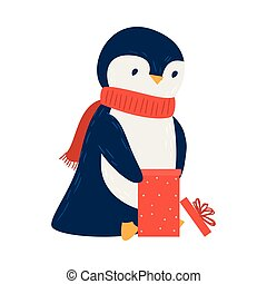 Cute penguin with a gift. Raster illustration in flat cartoon style