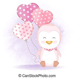 Cute penguin with balloon hand drawn cartoon illustration watercolor background