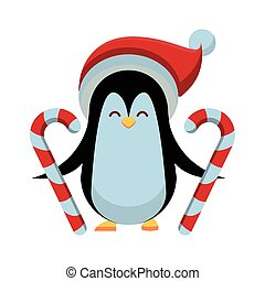 cute penguin with christmas hat and canes