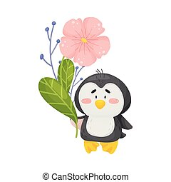 Cute penguin with flowers. Vector illustration on white background.