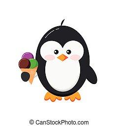 Cute penguin with ice cream clip art.