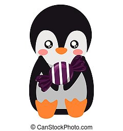 cute penguin with sweet candy