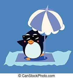Penguin with Umbrella on the Iceberg. Vector Illustration