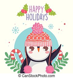 cute penguin with warm hat candy canes merry christmas