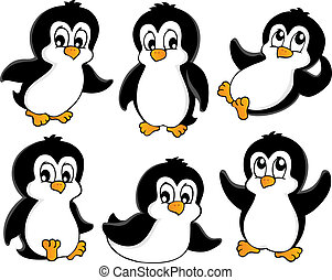 Cute penguins collection 1 - vector illustration.