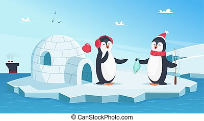 Cute penguins in love. Christmas winter animals. Cartoon penguins on ice in ocean with fish vector illustration