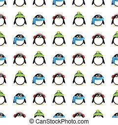 Cute penguins in winter wear