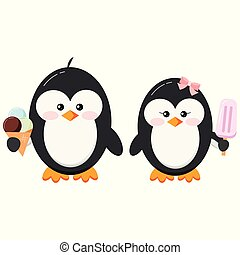 Cute penguins with ice cream vector clip art.