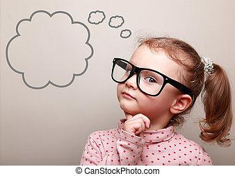 cute, pensando, olhar, menina, óculos, bolha, vazio, criança