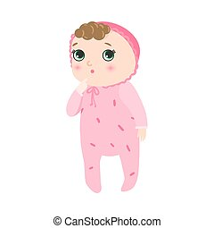 Cute pensive baby standing with kinky hair in pink pajama. Vector illustration in flat cartoon style.