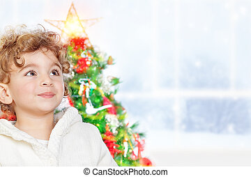 cute, pequeno, árvore, natal, menino