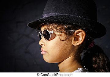 cute, pequeno, óculos de sol, menina, africano-americano