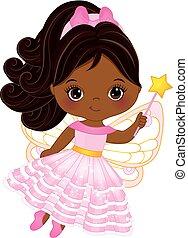 cute, pequeno, batuta mágica, americano, vetorial, africano, fada