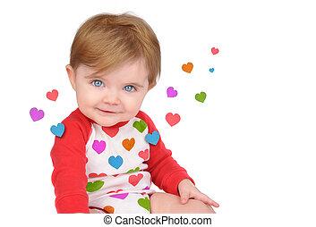 cute, pequeno, bebê, ame corações, branco