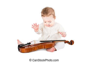 cute, pequeno, bebê, violino, menina, tocando